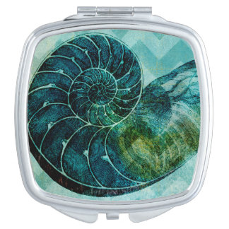 Spiral Turquoise Conch Shell Mirror For Makeup