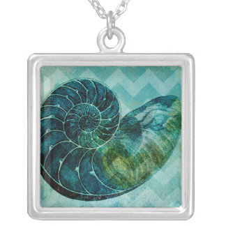 Spiral Turquoise Conch Shell Silver Plated Necklace