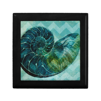 Spiral Turquoise Conch Shell Small Square Gift Box