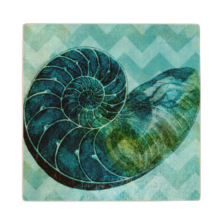 Spiral Turquoise Conch Shell Wood Coaster