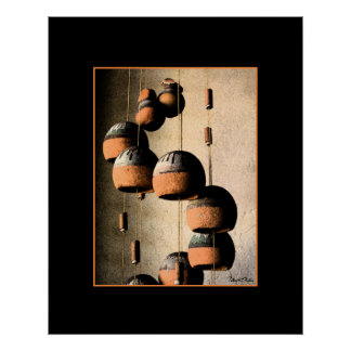 Spiraled Clay Wind Chimes Still Life Poster