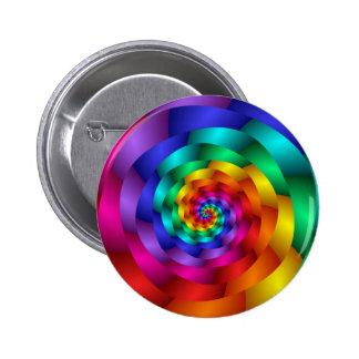 Spiraling Rainbow Rose 6 Cm Round Badge