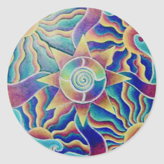 Spiraling Sun Mandala Sticker