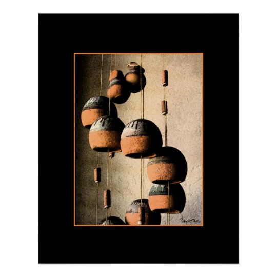 Spiralled Clay Wind Chimes Still Life Poster