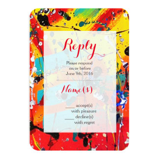 Spirals Abstract Art Wedding Reply Cards 9 Cm X 13 Cm Invitation Card