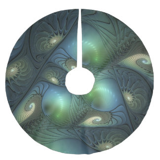 Spirals Beige Green Turquoise Fantasy Fractal Brushed Polyester Tree Skirt