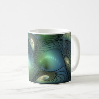 Spirals Beige Green Turquoise Fantasy Fractal Coffee Mug