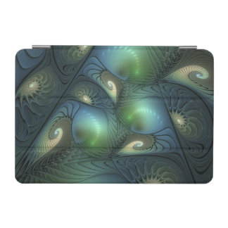 Spirals Beige Green Turquoise Fantasy Fractal iPad Mini Cover
