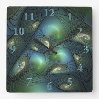 Spirals Beige Green Turquoise Fantasy Fractal Square Wall Clock