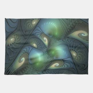 Spirals Beige Green Turquoise Fantasy Fractal Tea Towel