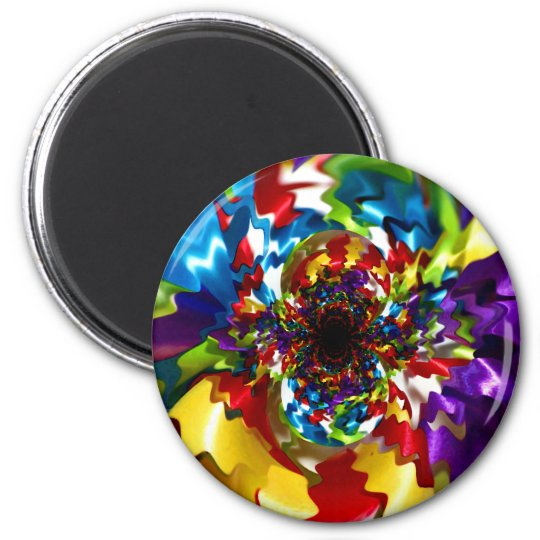 Spirals of Joy Kaleidoscope Fractal Art Magnet