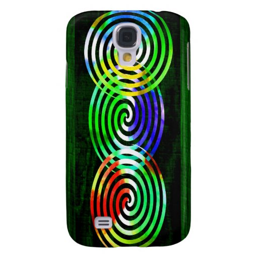 Spirals on Green Woodgrain Galaxy S4 Covers