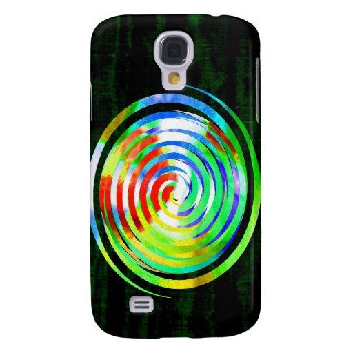 Spirals on Green Woodgrain Galaxy S4 Cases