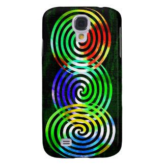 Spirals on Green Woodgrain Galaxy S4 Case