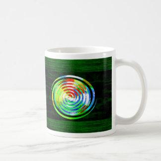 Spirals on Green Woodgrain Mugs