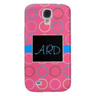 Spirals on Pink Monogram 3G Phone Case Galaxy S4 Case