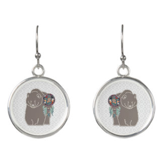 Spirit Bear with Dreamcatcher in Taupe Earrings