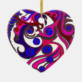 Spirit Dragon (Psychedelic) Ceramic Heart Decoration