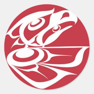 Spirit Eagle White on Red.jpg Classic Round Sticker