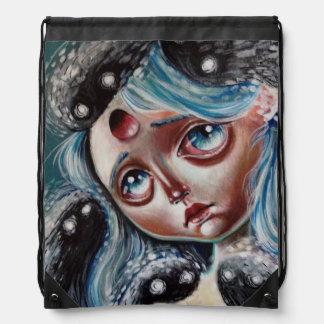 Spirit Keeper Pop Surrealism Drawstring Bag