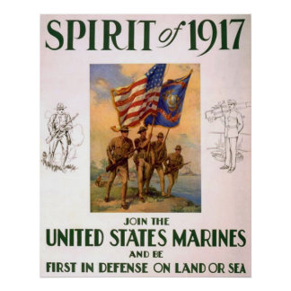 Spirit Of 1917-Join The US Marines Poster
