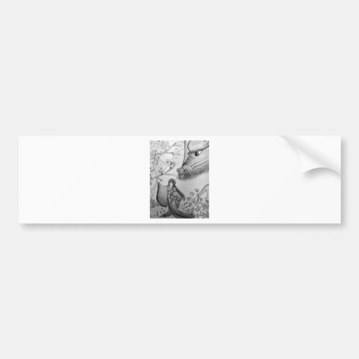Spirit of dragon and cherry tree bumper stickers