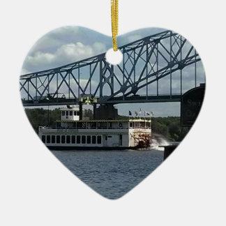 Spirit of Dubuque Steamboat Ceramic Heart Decoration