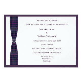 Spirit of Scotland CMDS Plaid and Diamond Heart 13 Cm X 18 Cm Invitation Card