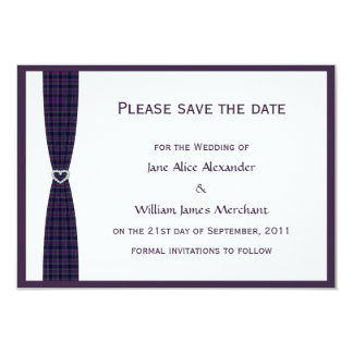 Spirit of Scotland CMDS Plaid and Diamond Heart 9 Cm X 13 Cm Invitation Card