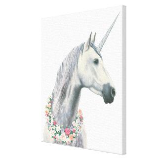 Spirit Unicorn with Flowers Around Neck Canvas Print