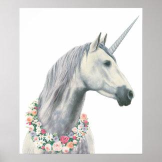 Spirit Unicorn with Flowers Around Neck Poster