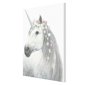 Spirit Unicorn with Flowers in Mane Canvas Print