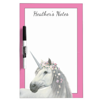 Spirit Unicorn with Flowers in Mane Dry Erase Board