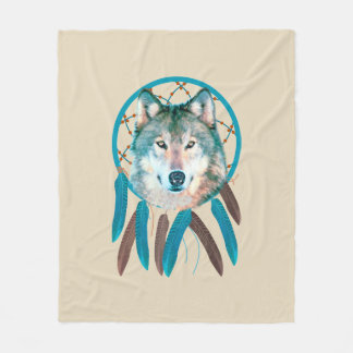 Spirit Wolf Dream Catcher Fleece Blanket