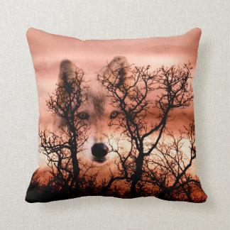 Spirit wolf face cushion