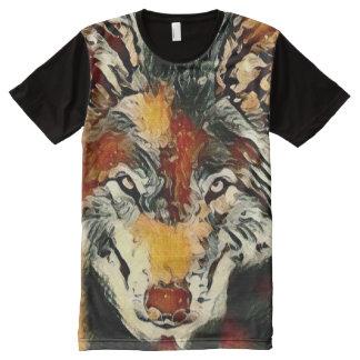 Spirit Wolf Paint Wildlife Art Graphic Tee All-Over Print T-Shirt