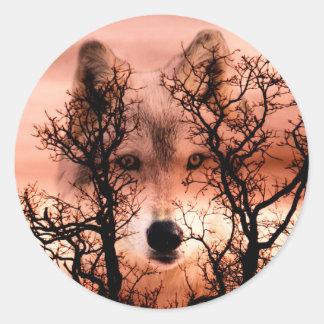Spirit wolf round sticker
