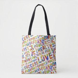 Spirit Words / Affirmations flower power Tote Bag
