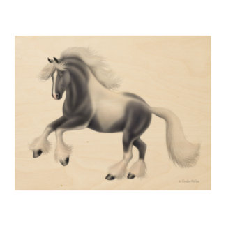Spirited Gypsy Vanner Horse Wood Wall Art Wood Canvases