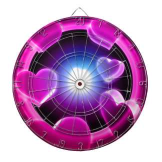 Spirited Hot Pink Glow Hearts Dartboard