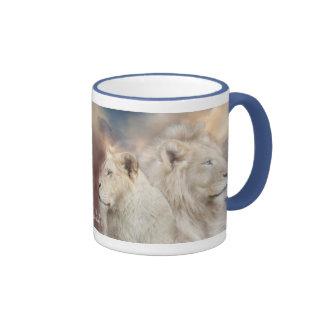 Spirits Of Light - White Lion Art Mug