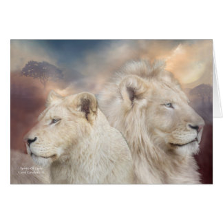 Spirits Of Light - White Lion ArtCard Greeting Card
