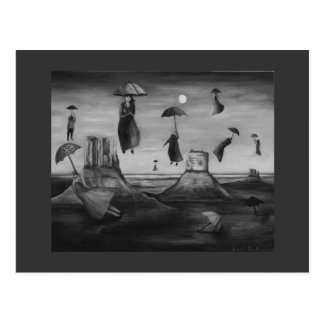 Spirits Of The Flying Umbrellas 2 BW Postcard