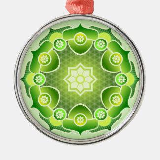 Spiritual Abstract Green Mandala Heart Chakra Silver-Colored Round Decoration