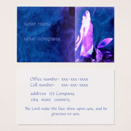 Spiritual business card in shades of blue