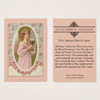 SPIRITUAL COMMUNION HOLY CARD -Angel holding Host