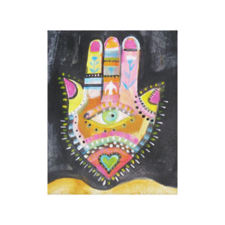 "Spiritual Hamsa Painting ""HAND of GOD"" Art Canvas Print"