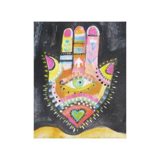 "Spiritual Hamsa Painting ""HAND of GOD"" Art Canvas Print"
