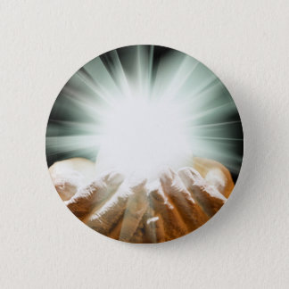Spiritual light in cupped hands 6 cm round badge