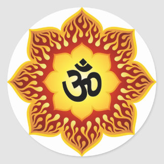 Spiritual Lotus Om Design Round Sticker